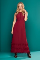 ROUGE RUFFLE MAXI DRESS